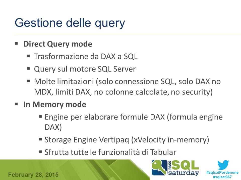 Gestione delle query Direct Query mode Trasformazione da DAX a SQL