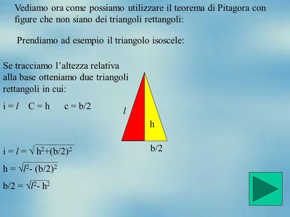 Vediamo ora come possiamo utilizzare il teorema di Pitagora con figure che non siano dei triangoli rettangoli: