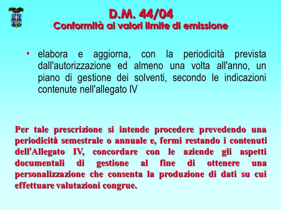 D.M. 44/04 Conformità ai valori limite di emissione