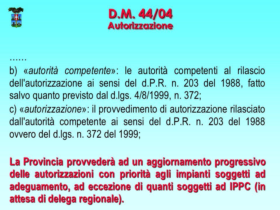 D.M. 44/04 Autorizzazione ……