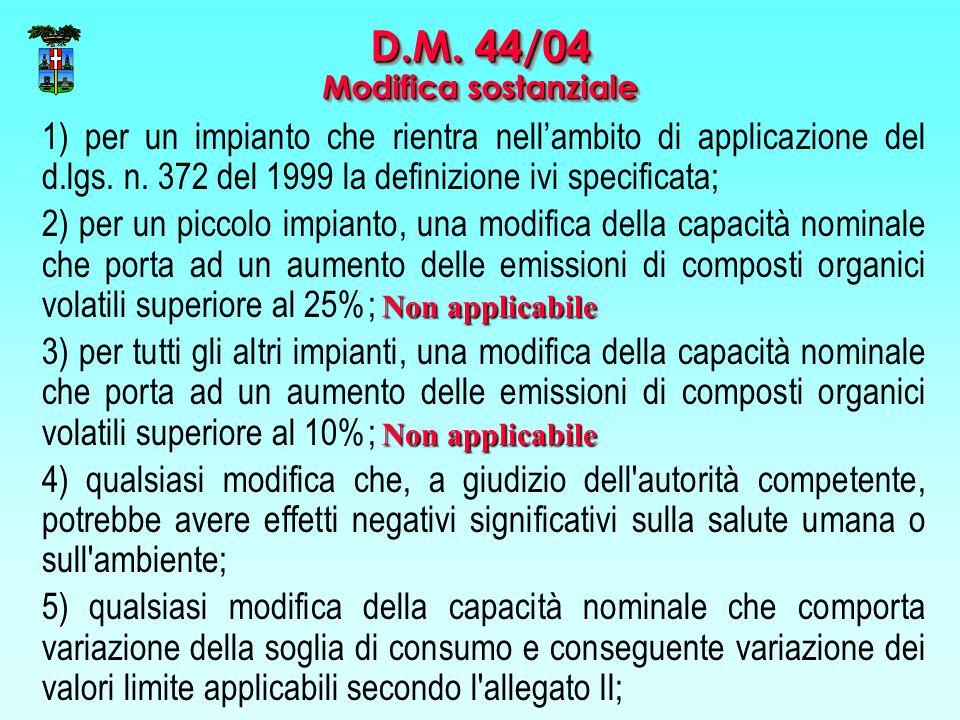 D.M. 44/04 Modifica sostanziale