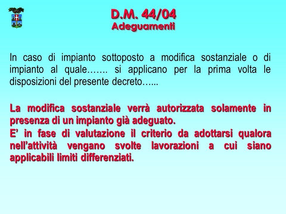 D.M. 44/04 Adeguamenti