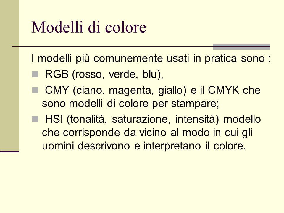 Modelli di colore I modelli più comunemente usati in pratica sono :