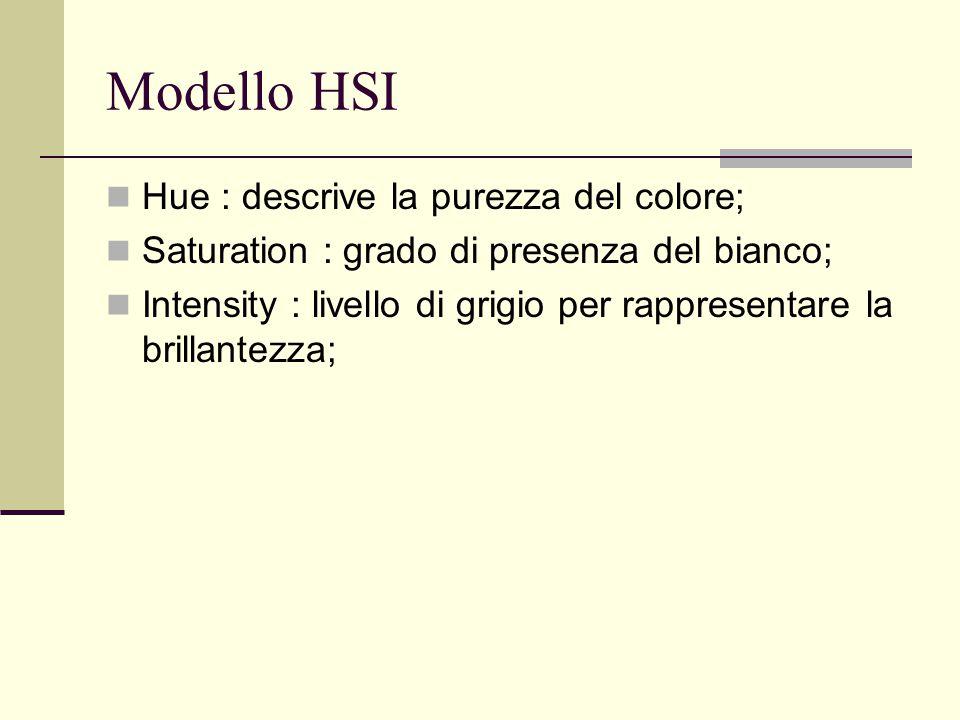 Modello HSI Hue : descrive la purezza del colore;