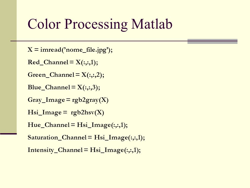 Color Processing Matlab
