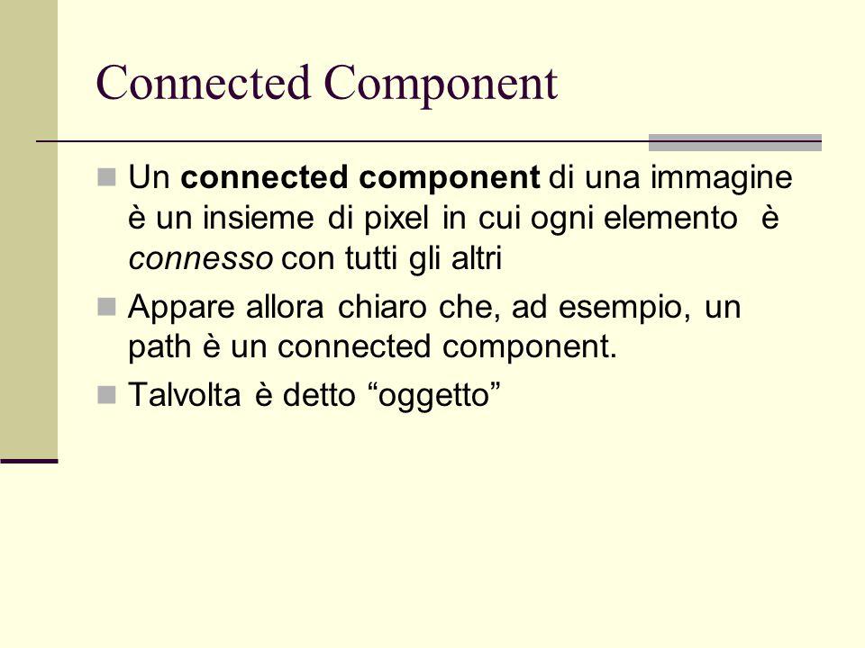 Connected Component Un connected component di una immagine è un insieme di pixel in cui ogni elemento è connesso con tutti gli altri.