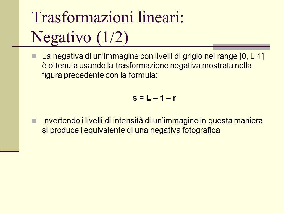 Trasformazioni lineari: Negativo (1/2)