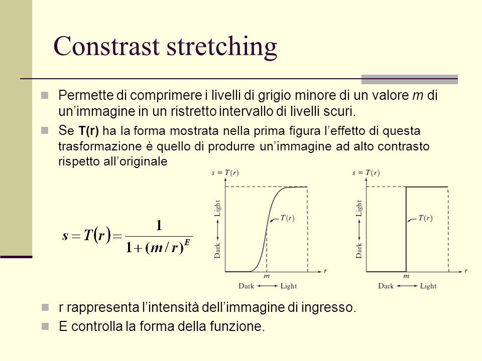 Constrast stretching Permette di comprimere i livelli di grigio minore di un valore m di un'immagine in un ristretto intervallo di livelli scuri.