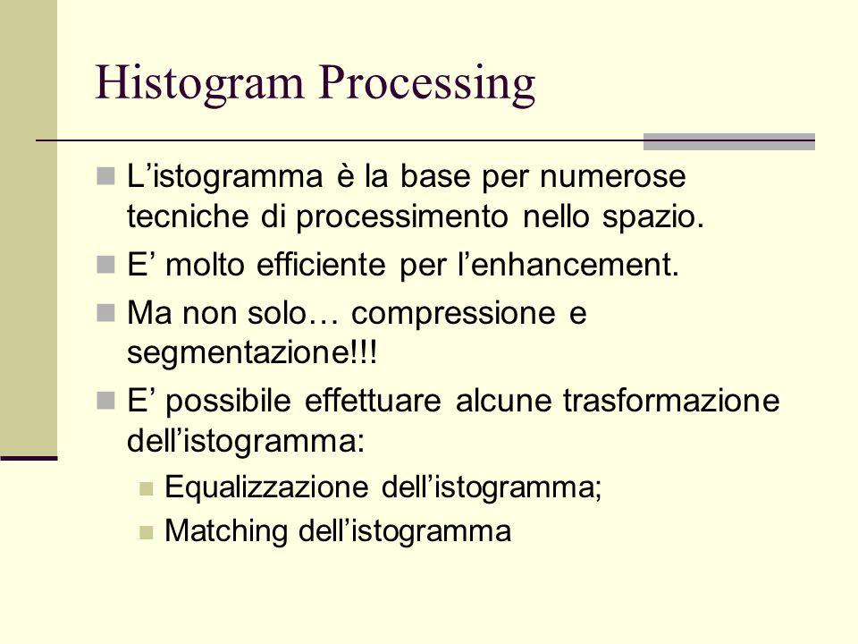 Histogram Processing L'istogramma è la base per numerose tecniche di processimento nello spazio. E' molto efficiente per l'enhancement.