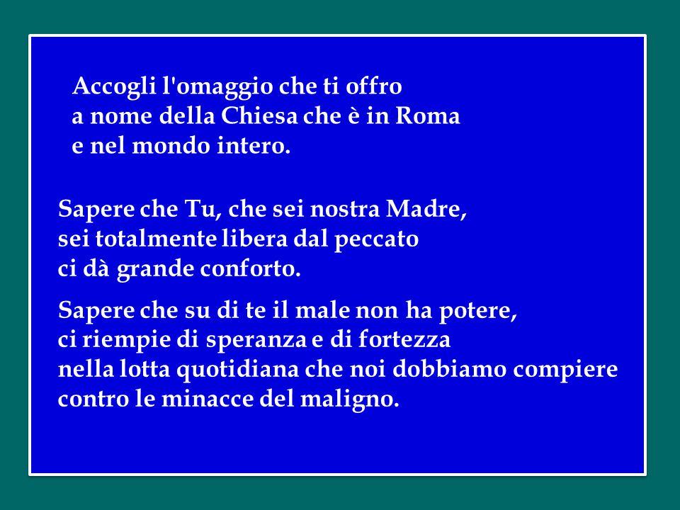 Accogli l omaggio che ti offro a nome della Chiesa che è in Roma e nel mondo intero.
