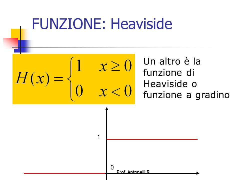 FUNZIONE: Heaviside Un altro è la funzione di Heaviside o funzione a gradino 1 Prof. Antonelli R.