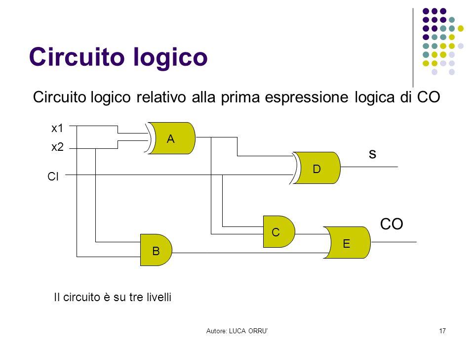 Circuito logico Circuito logico relativo alla prima espressione logica di CO. x1. A. x2. s. D.