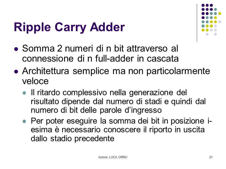 Ripple Carry Adder Somma 2 numeri di n bit attraverso al connessione di n full-adder in cascata. Architettura semplice ma non particolarmente veloce.