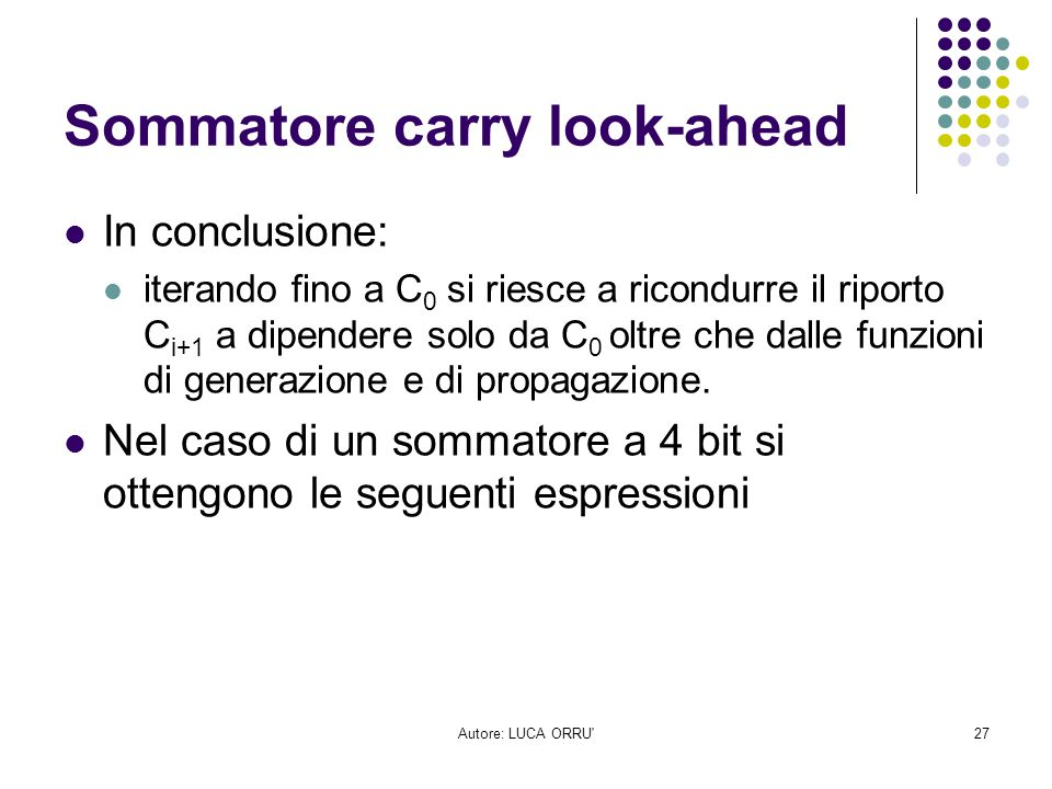 Sommatore carry look-ahead