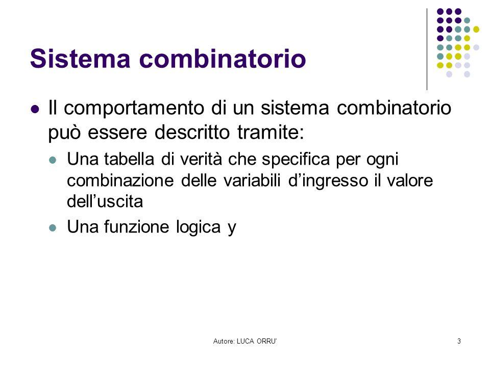 Sistema combinatorio Il comportamento di un sistema combinatorio può essere descritto tramite: