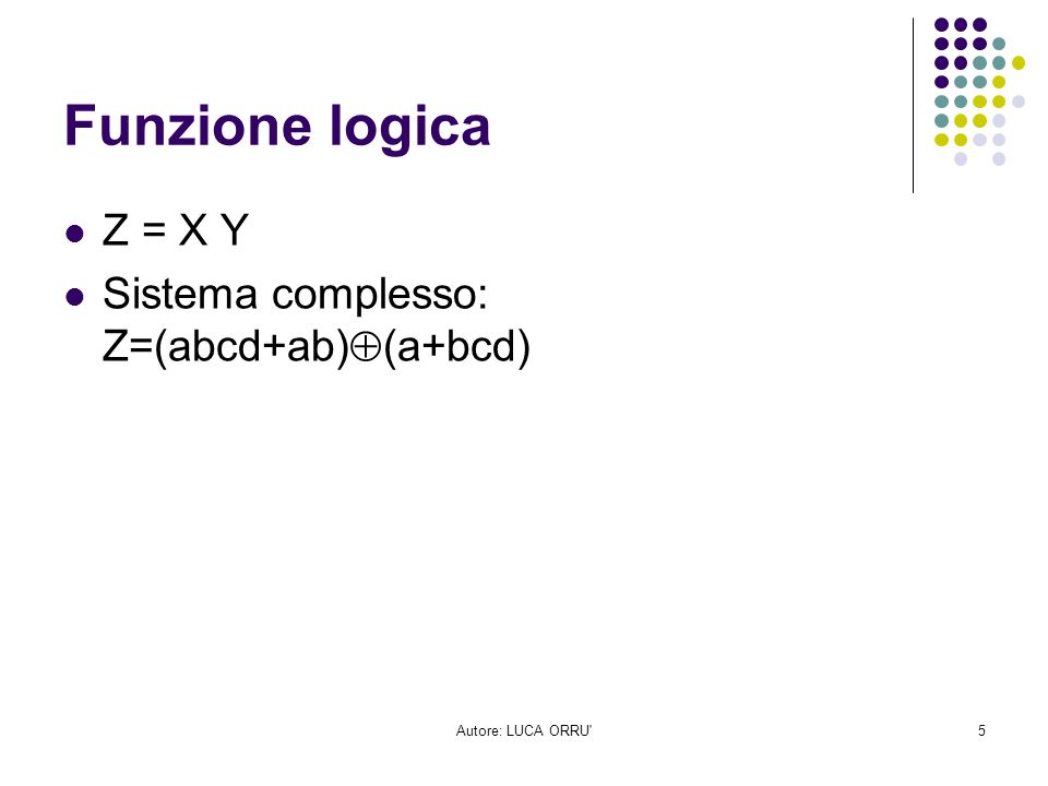 Funzione logica Z = X Y Sistema complesso: Z=(abcd+ab)(a+bcd)