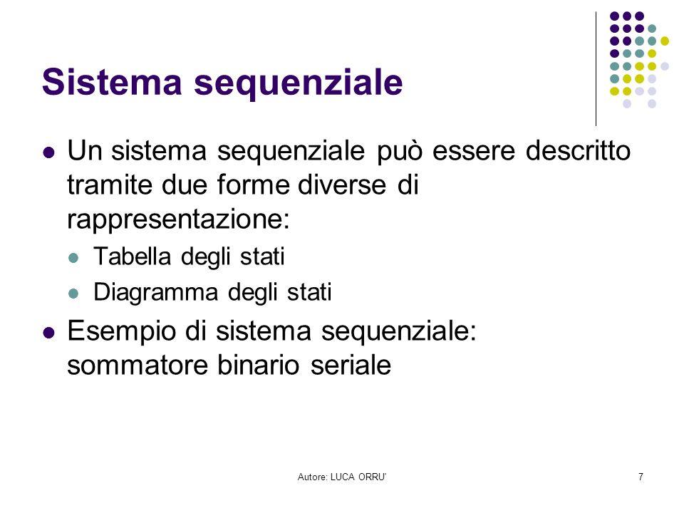 Sistema sequenziale Un sistema sequenziale può essere descritto tramite due forme diverse di rappresentazione:
