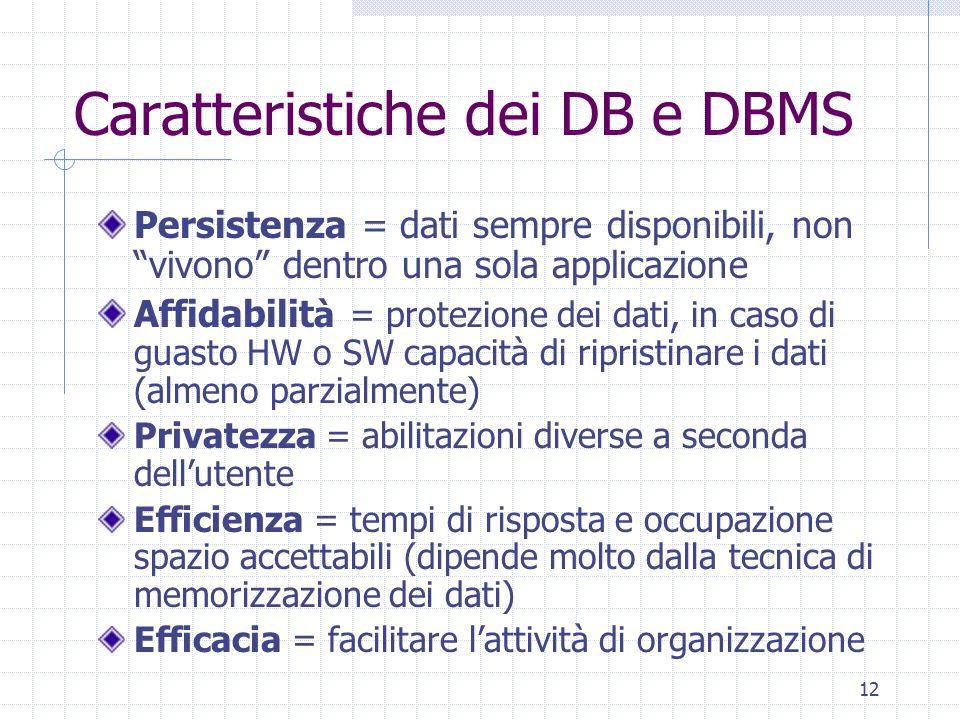 Caratteristiche dei DB e DBMS