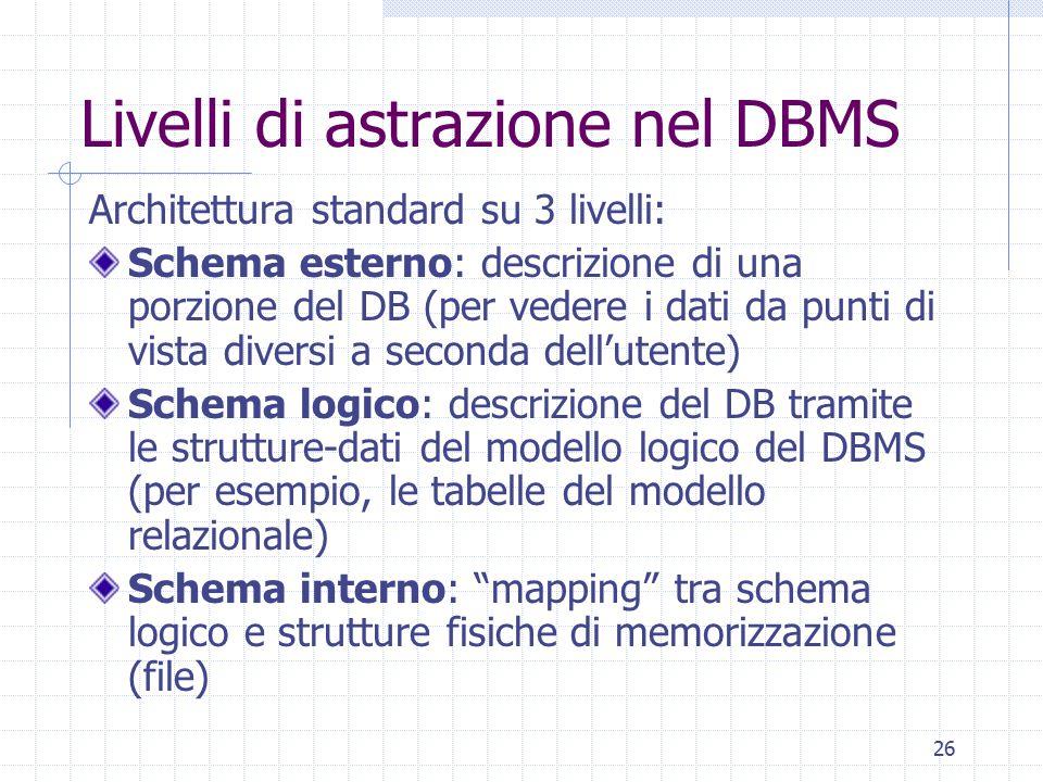 Livelli di astrazione nel DBMS