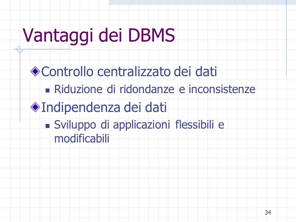 Vantaggi dei DBMS Controllo centralizzato dei dati