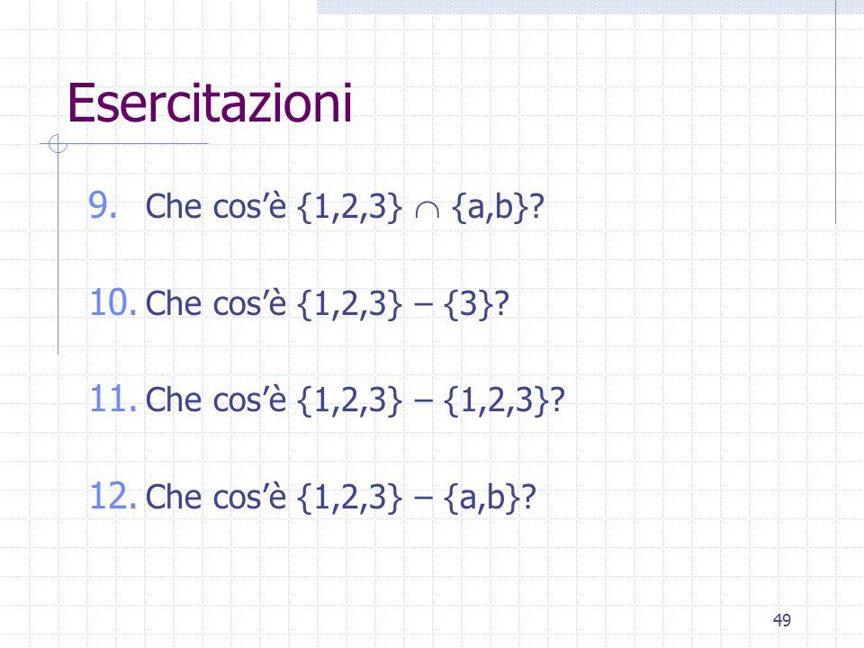Esercitazioni Che cos'è {1,2,3}  {a,b} Che cos'è {1,2,3} – {3}