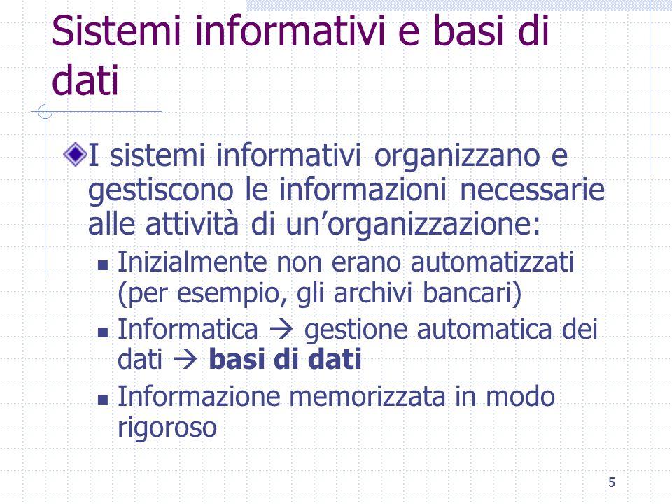Sistemi informativi e basi di dati