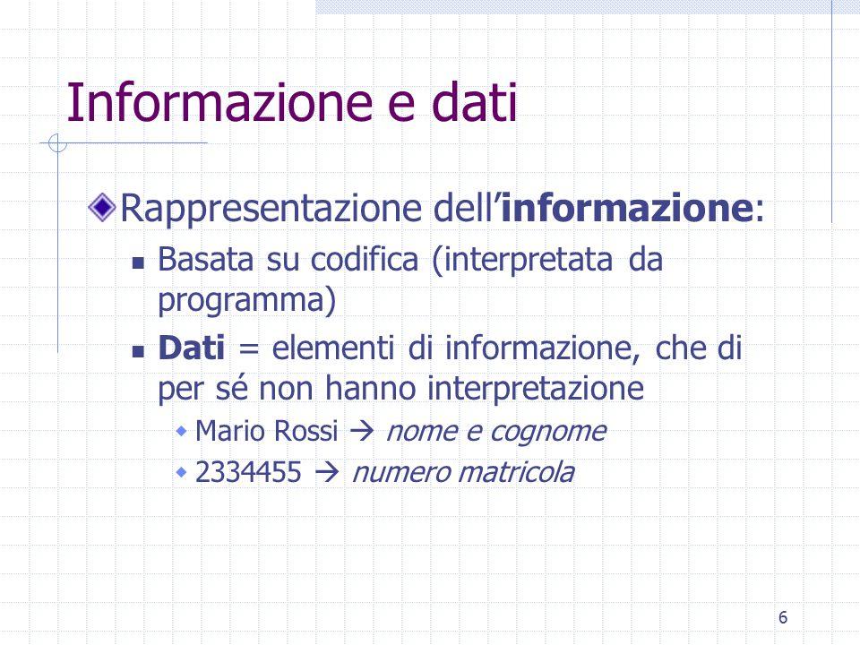 Informazione e dati Rappresentazione dell'informazione: