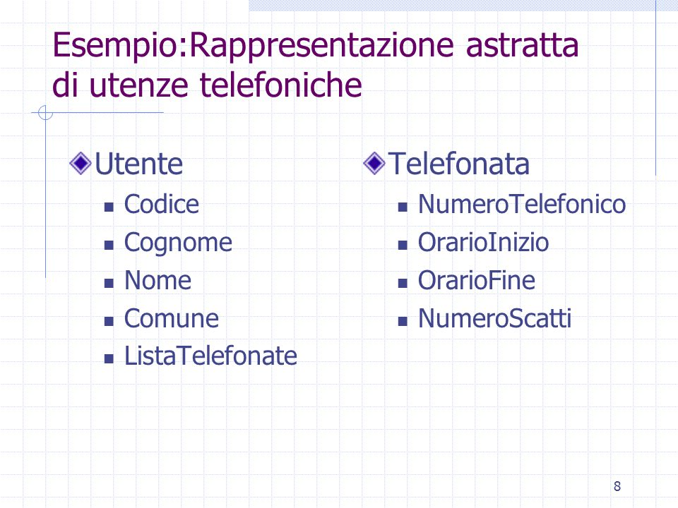 Esempio:Rappresentazione astratta di utenze telefoniche