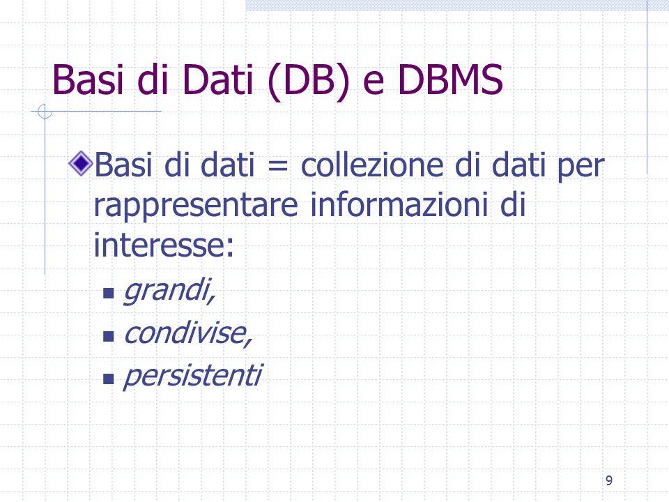 Basi di Dati (DB) e DBMS Basi di dati = collezione di dati per rappresentare informazioni di interesse: