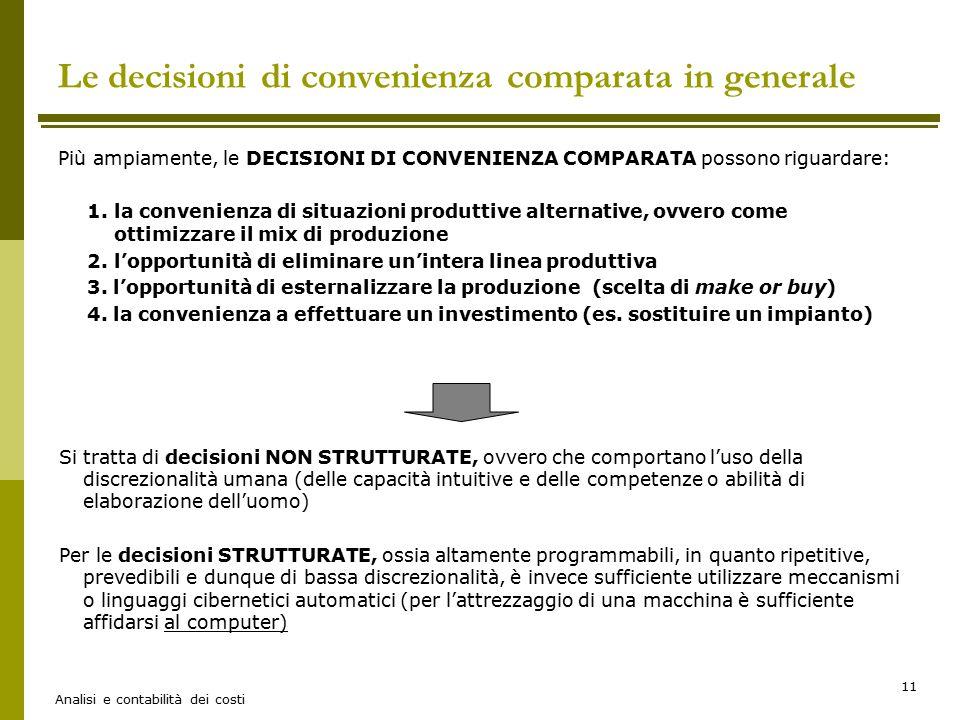 Le decisioni di convenienza comparata in generale