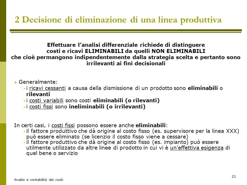 2 Decisione di eliminazione di una linea produttiva