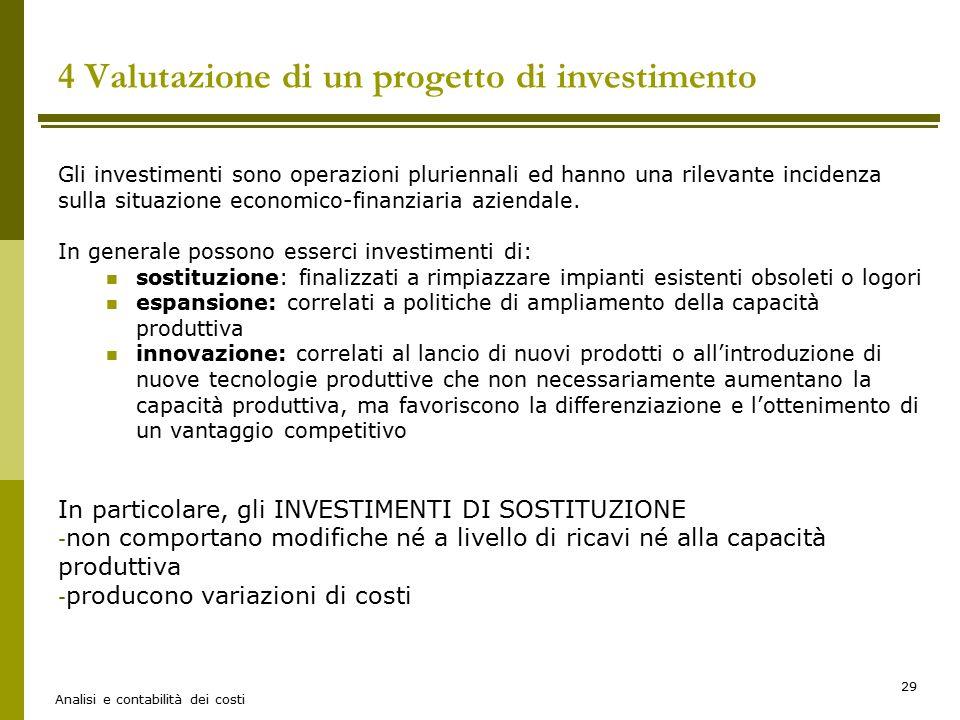 4 Valutazione di un progetto di investimento