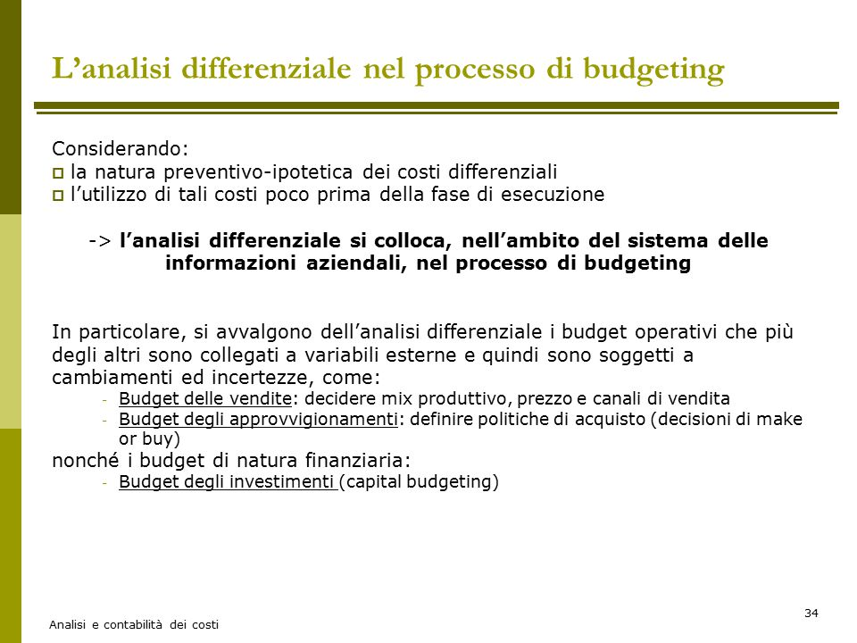 L'analisi differenziale nel processo di budgeting