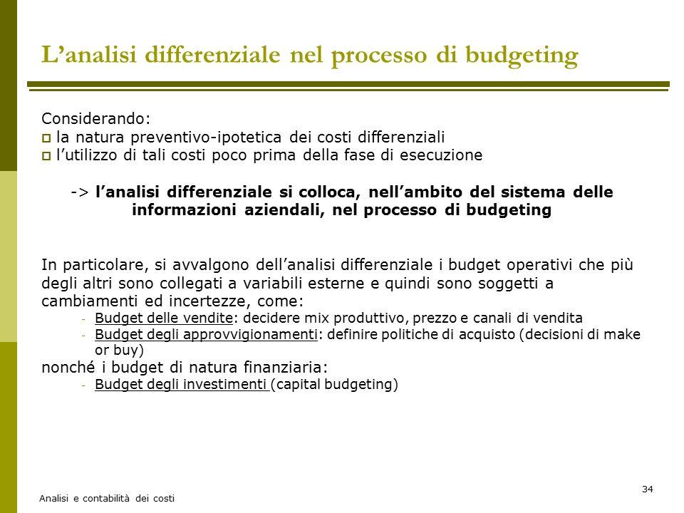 L'analisi differenziale nel processo di budgeting