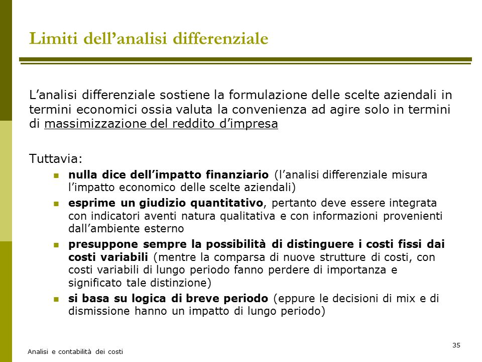 Limiti dell'analisi differenziale