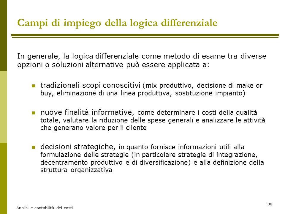 Campi di impiego della logica differenziale