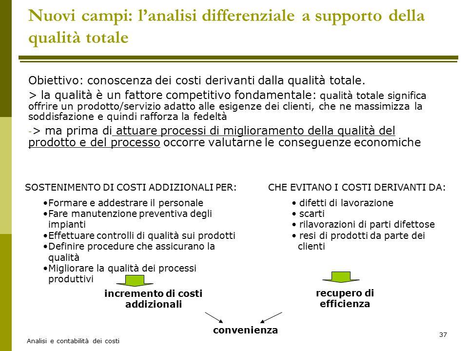Nuovi campi: l'analisi differenziale a supporto della qualità totale