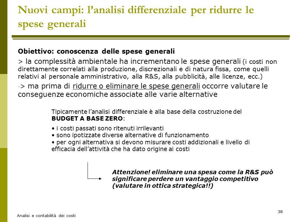 Nuovi campi: l'analisi differenziale per ridurre le spese generali