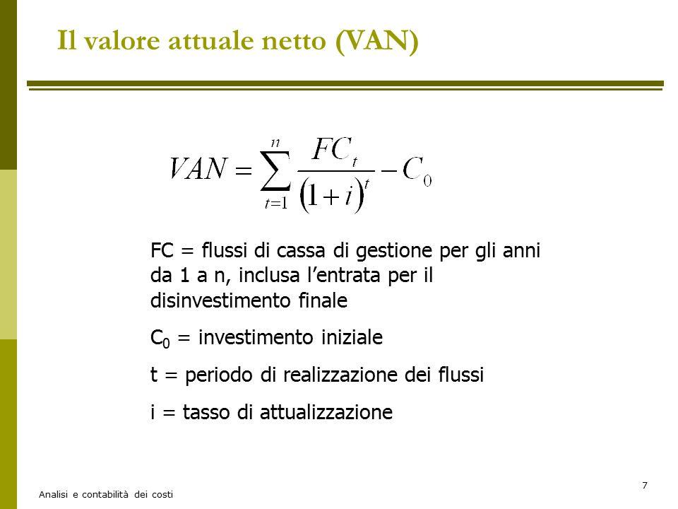 Il valore attuale netto (VAN)