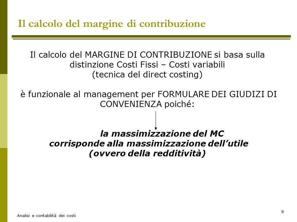 Il calcolo del margine di contribuzione