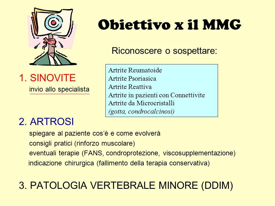 Obiettivo x il MMG 1. SINOVITE 2. ARTROSI
