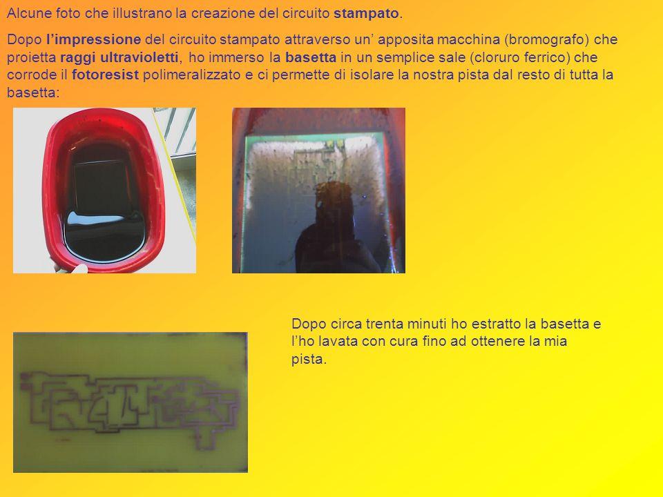 Alcune foto che illustrano la creazione del circuito stampato.