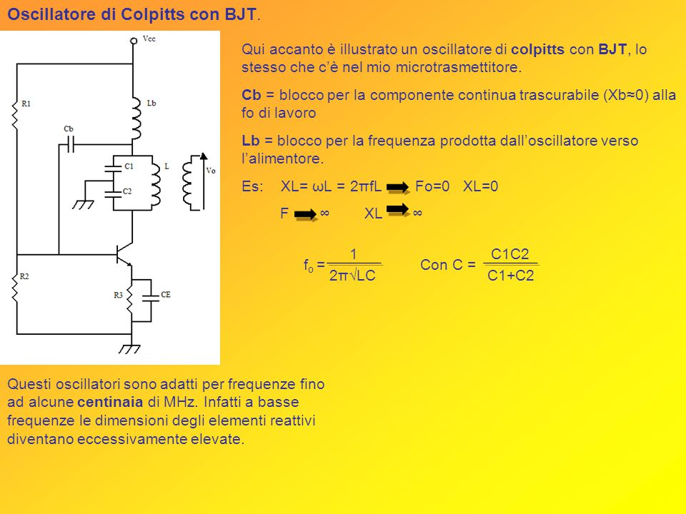Oscillatore di Colpitts con BJT.