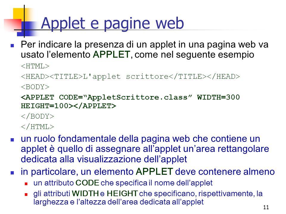 Applet e pagine web Per indicare la presenza di un applet in una pagina web va usato l'elemento APPLET, come nel seguente esempio.