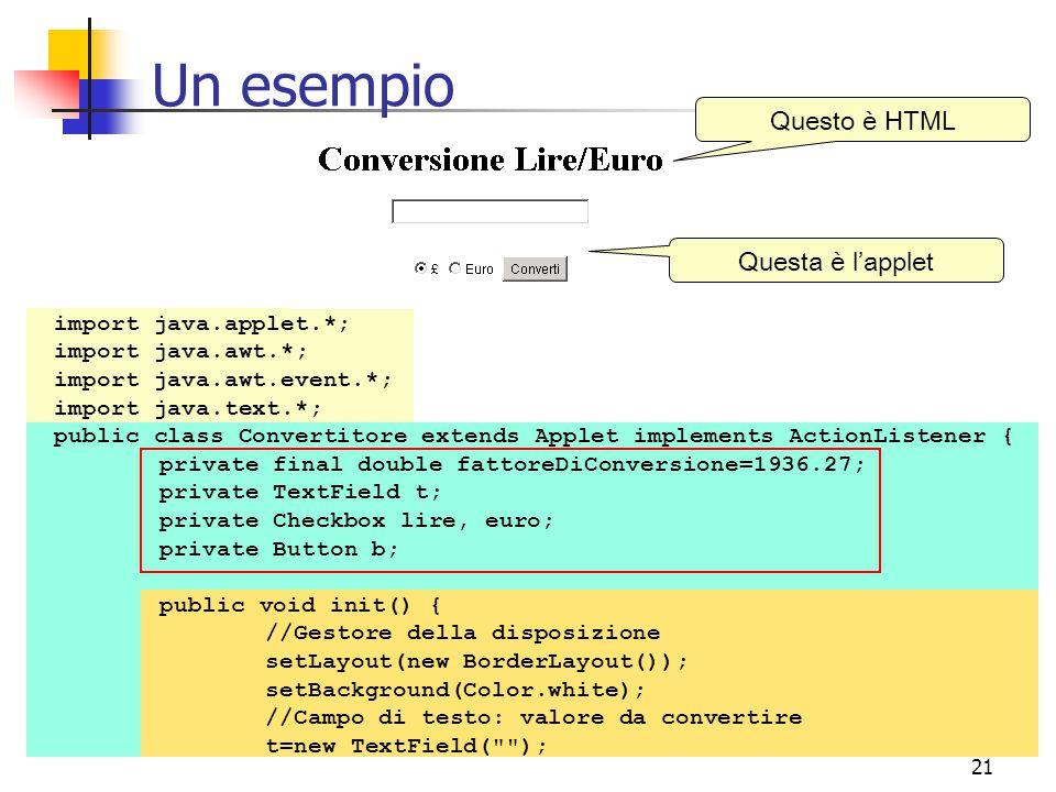 Un esempio Questo è HTML Questa è l'applet import java.applet.*;