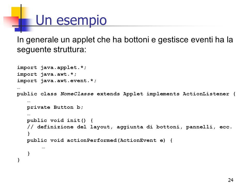 Un esempio In generale un applet che ha bottoni e gestisce eventi ha la seguente struttura: import java.applet.*;