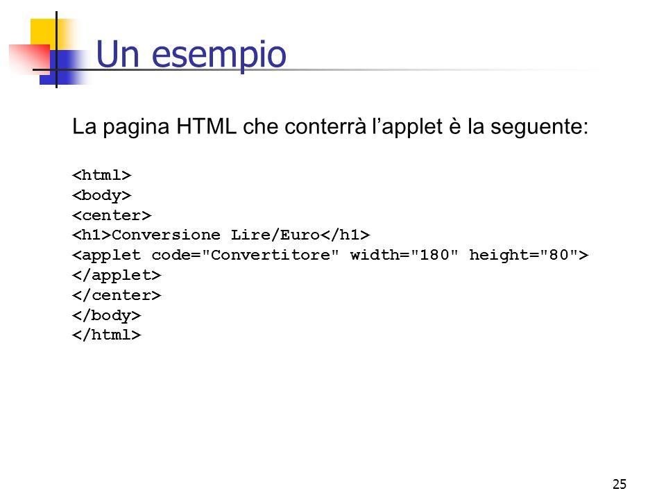 Un esempio La pagina HTML che conterrà l'applet è la seguente: