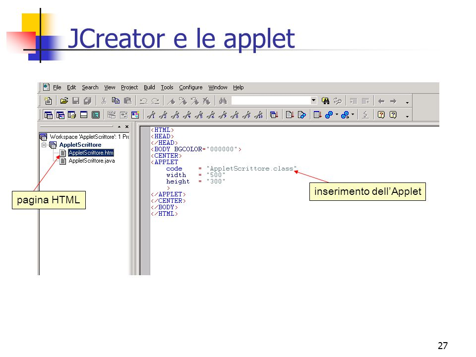 JCreator e le applet inserimento dell'Applet pagina HTML