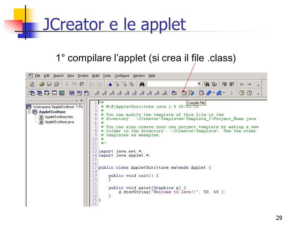 JCreator e le applet 1° compilare l'applet (si crea il file .class)