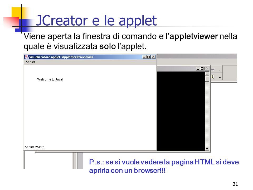 JCreator e le applet Viene aperta la finestra di comando e l'appletviewer nella quale è visualizzata solo l'applet.